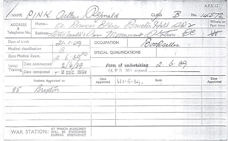 Arthur Reginald Pink's Auxiliary Fire Service Record